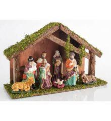 Χριστουγεννιάτικη Ξύλινη Φάτνη με 9 Φιγούρες (35cm)