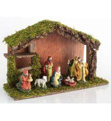 Χριστουγεννιάτικη Ξύλινη Φάτνη με 7 Φιγούρες (28cm)