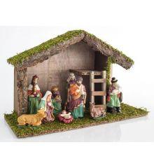 Χριστουγεννιάτικη Ξύλινη Φάτνη με 9 Φιγούρες (40cm)