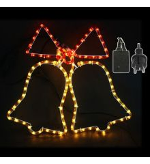 Χριστουγεννιάτικες Καμπάνες με 3m Πολύχρωμο Φωτοσωλήνα (59cm)