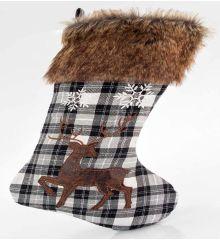 Χριστουγεννιάτικη Διακοσμητική Κάλτσα Καρό με Ελάφι (53cm)