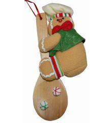 Χριστουγεννιάτικο Λούτρινο Μπισκότο Καφέ με Ξύλινη Κουτάλα (23cm)