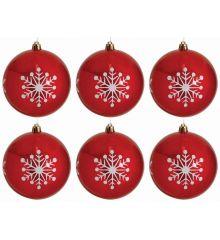 Χριστουγεννιάτικες Μπάλες Κόκκινες με Λευκές Χιονονιφάδες - Σετ 6 τεμ. (8cm)