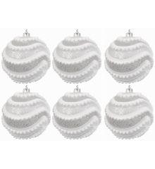 Χριστουγεννιάτικες Μπάλες Διάφανες με Λευκές Μπίλιες - Σετ 6 τεμ. (8cm)