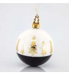 Χριστουγεννιάτικη Μπάλα Πορσελάνινη Χειροποίητη με Δεντράκια (10cm)