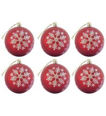 Χριστουγεννιάτικες Μπάλες Κόκκινες με Λευκές Νιφάδες - Σετ 6 τεμ. (3cm)Χριστουγεννιάτικες Κόκκινες Μπάλες με Λευκές Νιφάδες - Σετ 6τεμ. (8 εκ.)