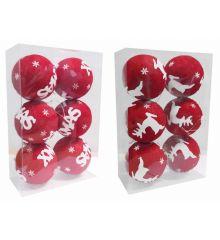 Χριστουγεννιάτικες Μπάλες Κόκκινες σε 2 Σχέδια - Σετ 6 τεμ. (10cm)