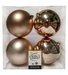 Χριστουγεννιάτικες Μπάλες Μπεζ - Σετ 4 τεμ. (10cm)