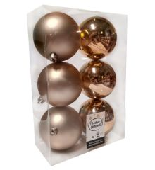 Χριστουγεννιάτικες Μπάλες Μπεζ - Σετ 6 τεμ. (8cm)