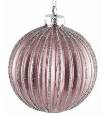 Χριστουγεννιάτικες Μπάλες Γυάλινες Μωβ - Σετ 6 τεμ. (8cm)
