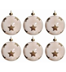 Χριστουγεννιάτικες Μπάλες Λευκές με Χρυσά Αστεράκια - Σετ 6 τεμ. (3cm)