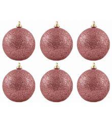 Χριστουγεννιάτικες Μπάλες Φούξια με Στρας - Σετ 6 τεμ. (8cm)