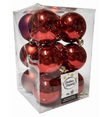 Χριστουγεννιάτικες Μπάλες Κόκκινες - Σετ 12 τεμ. (6cm)
