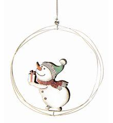 Χριστουγεννιάτικος Ξύλινος Χιονάνθρωπος Λευκός (24cm)