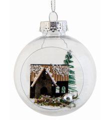 Χριστουγεννιάτικη Μπάλα Διάφανη με Σπιτάκι (8cm)