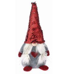 Χριστουγεννιάτικος Λούτρινος Διακοσμητικός Νάνος Κόκκινο με Πούλιες (35cm)