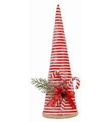 Χριστουγεννιάτικος Κώνος Κόκκινο Ριγέ (39cm) - 1 Τεμάχιο