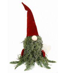 Χριστουγεννιάτικος Λούτρινος Διακοσμητικός Νάνος Κόκκινος (44cm)