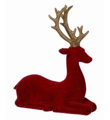 Χριστουγεννιάτικος Διακοσμητικός Πολυρεζίνη Τάρανδος Κόκκινος (21.5cm)