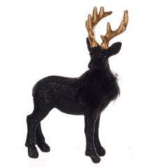 Χριστουγεννιάτικος Διακοσμητικός Πολυρεζίνη Τάρανδος Μαύρος με Γκλίτερ (17cm)