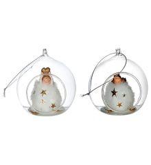 Χριστουγεννιάτικη Γυάλινo Διακοσμητικό με Αγγελάκι Πολύχρωμο - 2 Σχέδια (8cm)