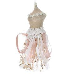 Χριστουγεννιάτικο Φόρεμα Ροζ Βελουτέ (28cm)