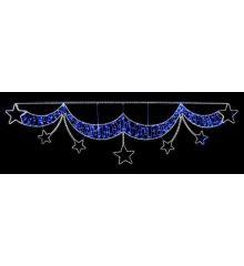 Χριστουγεννιάτικη Επιστύλια Γιρλάντα Αστέρια με Φωτοσωλήνα Led (92cm)