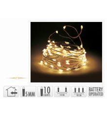 10 Λευκά Θερμά Φωτάκια LED Copper Μπαταρίας (0,9m)