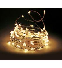 100 Λευκά Θερμά Φωτάκια LED Copper Μπαταρίας, Με Χρονοδιακόπτη (5m)