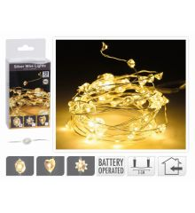 20 Λευκά Θερμά Φωτάκια LED Copper Διαμαντάκια με Μπαταρία (2m)