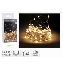 40 Λευκά Θερμά Φωτάκια LED Copper Μπαταρίας, Με Χρονοδιακόπτη (2m)