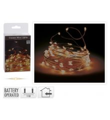 80 Gold Θερμά Φωτάκια LED Copper, με Μπαταρία (0.5m)