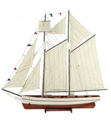 Χριστουγεννιάτικο Διακοσμητικό Ξύλινο Καράβι με Σημαιάκια (120cm)