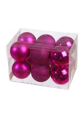 Χριστουγεννιάτικες Μπάλες ροζ - σετ 12 Τεμ. (8cm)
