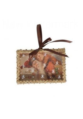 Χριστουγεννιάτικο Υφασμάτινο Κρεμαστό Στολίδι με Παιδάκι και Άι Βασίλη