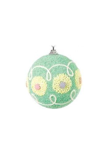 Χριστουγεννιάτικη Παιδική Μπάλα Πράσινη, με Σχέδια (10cm)