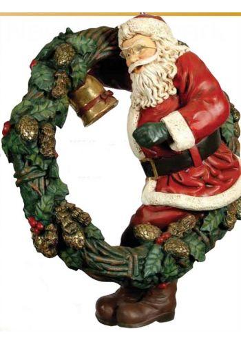 Χριστουγεννιάτικο Κεραμικό Στεφάνι με Άγιο Βασίλη Πολύχρωμο (108cm)