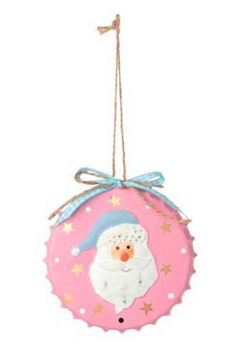 Χριστουγεννιάτικο Μεταλλικό Κρεμαστό Στολίδι Άγιος Βασίλης σε Καπάκι ροζ (10cm)