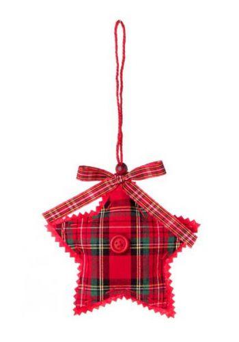 Χριστουγεννιάτικο Κρεμαστό Στολίδι Αστέρι Καρό Υφασμάτινο με Κουμπί και Φιόγκο - 12 cm