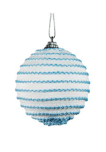 Χριστουγεννιάτικη Μπάλα Λευκό - Γαλάζιο, με Πλεχτό (8cm)
