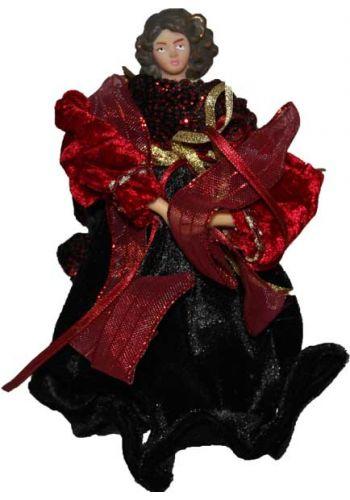 Χριστουγεννιάτικη Κορυφή Δέντρου, Άγγελος Μαύρος Κόκκινος (17cm)