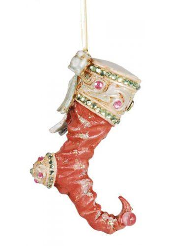 Χριστουγεννιάτικο Κεραμικό Στολίδι, Ροζ Μπότα (10cm)