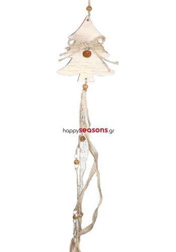 Χριστουγεννιάτικο Στολίδι - Ξύλινο Κρεμαστό Διακοσμημένο Έλατο