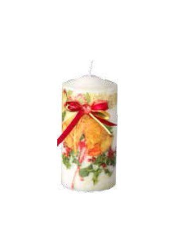 Χριστουγεννιάτικο Διακοσμητικό Κερί με Φιόγκο - 15 εκ.