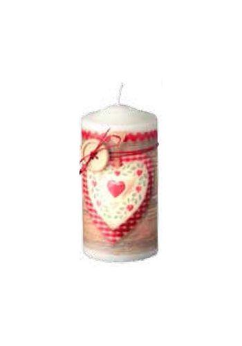 Χριστουγεννιάτικο Διακοσμητικό Κερί με Κόκκινη Καρδιά - 15 εκ.