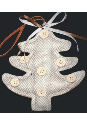 Χριστουγεννιάτικο Υφασμάτινο Μπεζ Ριγέ Δεντράκι (13cm)