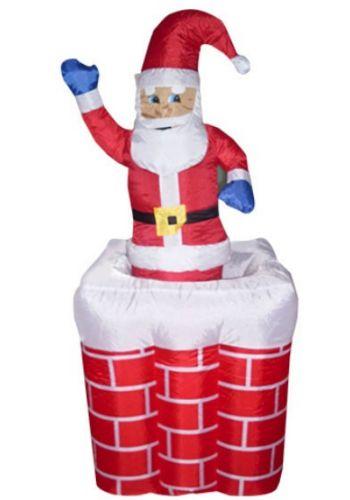 Χριστουγεννιάτικος Φουσκωτός Πλαστικός Άγιος Βασίλης που Ανεβοκατεβαίνει από Καμινάδα Κόκκινο (1.80m)