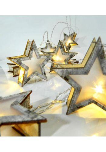 10 Λευκά Θερμά Φωτάκια LED Μπαταρίας, με Ξύλινα Αστέρια (2m)