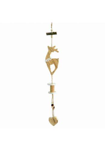 Χριστουγεννιάτικος Ξύλινος Κρεμαστός Τάρανδος, Διακοσμημένος με Καρδιές (40cm)