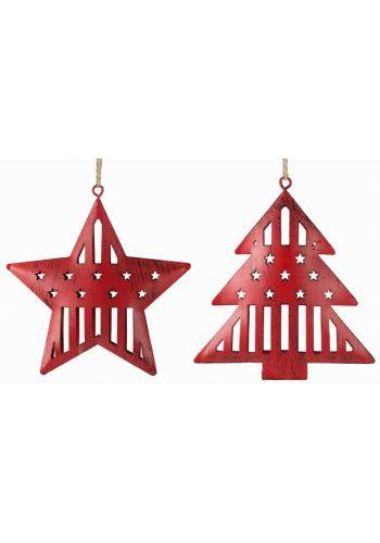 Χριστουγεννιάτικα Μεταλλικά Κόκκινα Στολίδια, Έλατο και Αστέρι - 2 Σχέδια (11cm)